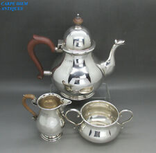 More details for antique nice georgian style solid sterling silver 3ps teaset 647g london 1925