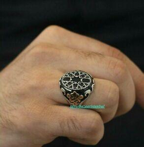 925 Sterling Silver  Design Men's Ring (Seljuk Motif Workmanship on Black Stone)