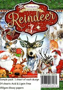 REINDEER Hunkydory Little Book Sample Pack - 24 Glossy Sheets CHRISTMAS