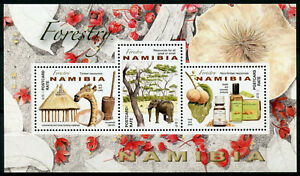 Namibia 2016 MNH Forestry in Namibia 3v M/S Huts Elephants Trees Stamps