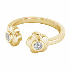 0.04 Ctw Diamond Daisy Flower Adjustable Womens Toe Ring In 14k Yellow Gold Over