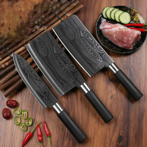 3pcs Damascus Pattern knife chopping knife cleaver slicing knife chef's knife