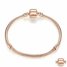Rose Gold Starter Moments Bracelet Classic Barrel Clasp for European Charm bead