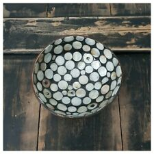 Coconut Shell Bowl Inlaid with Mother Of Pearl Circles