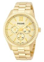 Pulsar Ladies Gold Plated with Gold Multi-Dial Watch PP6128 UK Seller