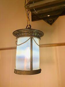 Arts & Crafts Vaseline Glass, Bronze Hall Lantern, Edwardian Antique, C1900