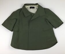 Derek Lam Womans Jacket Size 6 Olive Three Quarter Sleeve Cropped Made In Italy