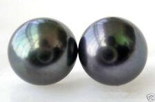 Pearl Stud 14K Earring Genuine Natural 11-12Mm black Freshwater