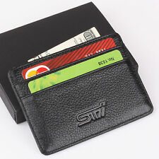 STI Subaru Slim Mini Wallet Genuine Cow Leather Thin Credit Card Case Men Holder