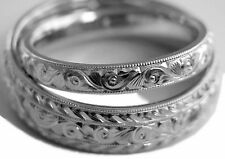 HAND ENGRAVED TWO WEDDING BAND RING SET SOLID PALLADIUM 6&3 MM WIDE COMFORT FIT