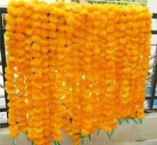 20 PCs Artificial Marigold Flower Mango Color Garlands Wedding Indian Event Deco