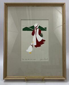 RARE VTG Jeanne Garant Art Minimalist Print- Over the river and...- Framed 18/22