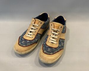 Louis Vuitton Monogram Denim Sneakers Beige Leather Size Eu 36