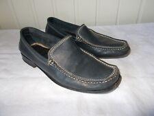 Chaussures mocassins cuir bleu HEYRAUD 37.5 Surpiqué blanc