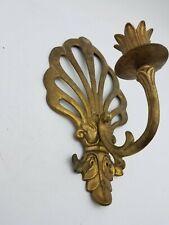 "Vintage Brass Art Nouveau Candle Holder Wall Sconce Regal Scroll Plume Decor 10"""