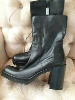 ENZO ANGIONLINI Black Leather Ankle Boots Heels Shoes Women's 7.5 M HiddenJuel