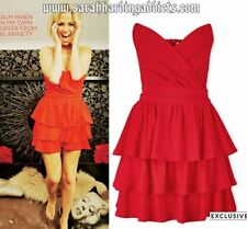 PPQ Cream Label Strapless Cocktail Christmas Party Red Dress Sarah Harding