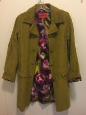 Missoni for Target Floral-Lined Olive Green Corduroy Button-Close Coat, XS