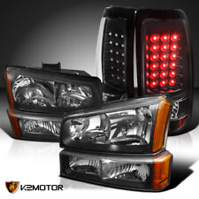 2003-2006 Chevy Silverado Black Headlights+Bumper Lamps+Led Tail Lights