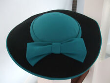 """Black & Turquise Hat, Turquise bow, top & outer rim.  Black surround Small 21 """""""