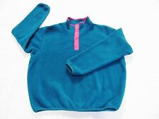 VTG PATAGONIA Women's Fleece Snap Button Jacket Sweater Neon Pink Trim Sz XL USA
