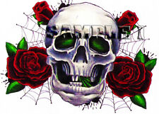Skull & Roses Iron On Transfer for light, cotton/mix fabrics Ref OTN1-1A