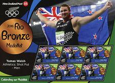 New Zealand NZ 2016 MNH Rio Bronze Tomas Walsh Shot Put 6v M/S Olympics Stamps