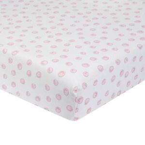 Just Born One World Collection Polka Dot Fitted Crib Sheet - Blossom