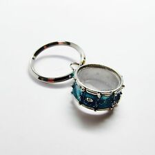 SNARE DRUM Key Chain - Sparkle Blue Nobel & Coole NWT - Music Gifts Jewelry