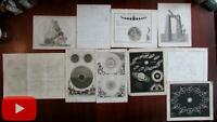 Celestial prints c.1700-1850 era nice lot of 10 prints eclipses Saturn Moon