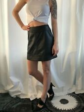 "Trouve Black 100% Leather Skirt Fully Lined Size 2 SOFT 26"" Waist 16"" Length"