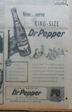 Large 1956 newspaper ad for Dr. Pepper Soda - Now Serving King Size bottles