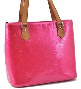 Authentic Louis Vuitton Vernis Houston Shoulder Bag Pink M91219 LV E2031