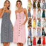 Womens BOHO Beach Cami Sundress Strappy Ladies Swing Floral Holiday Midi Dress