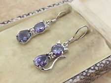 Bow Kitty Cat Ladies Hook Earrings Round & Pear Cut Diamond 925 Sterling Silver