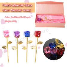 24K Crystal Gold Rose Dipped Flower Long Stem Valentine's Day Love Gift Women