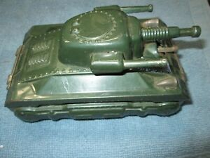 Vintage 1950's Tin Army Tank with Friction Motor - Japan