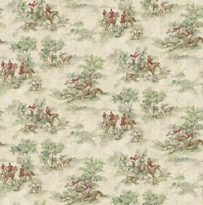 Wallpaper English Hunt Scene Red Gray Green Brown on Cream Faux