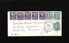 Multiple Prexy Prexie 3c & 5c Air Mail Rate 1939 Columbus Paris France Cover 5z