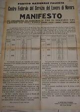 WW2 PNF MANIFESTO CHIAMATA DI CONTROLLO SERVIZIO LAVORO I NOVARA 1943