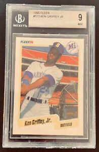 1990 Fleer Ken Griffey JR Seattle Mariners #513 Baseball Card - BGS 9 HOF 2nd Yr