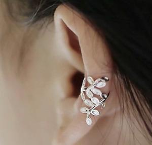 925 Sterling Silver Branch Leaves Ear Cuff Clip Wrap Non No Piercing Earrings