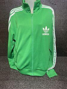 Vtg Adidas Track Jacket Green/White Stripes RN 88387  Size Xl/2XL Blue Tag