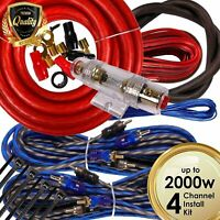 Complete 4 Channels 2000W 4 Gauge Amplifier Installation Wiring Kit Amp PK3 Red