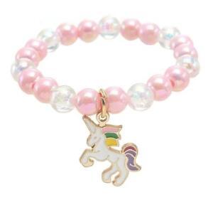 Cute Pink Unicorn Kids Pearl Elasticated Bracelet