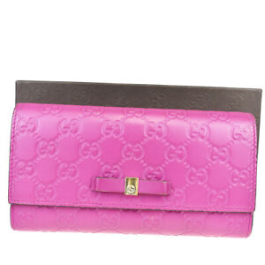 Authentic GUCCI GG Pattern Long Bifold Wallet Purse Leather Magenta 66MA474
