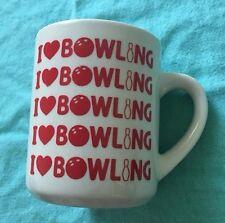 """Vintage """"I <3 Bowling"""" Coffee Cup Mug I Love Bowling"""