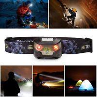 USB/batteria Torcia Lampada da testa frontale Sensore di movimento LED Luce Luci
