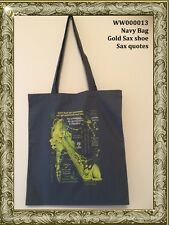 Saxophone themed tote bag. Gift for musician. Music books etc