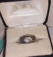 $2100~Kay Jewelers 10k White gold black Diamond enhancer Engagement 3 ring set